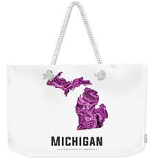 Michigan Map Art Abstract In Purple Weekender Tote Bag