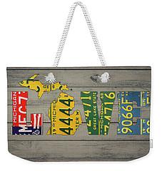 Michigan State Love Heart License Plates Art Phrase Weekender Tote Bag