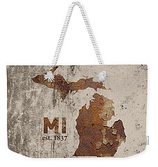 Michigan State Map Industrial Rusted Metal On Cement Wall With Founding Date Series 005 Weekender Tote Bag by Design Turnpike