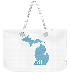 Michigan State Map With Text Of Constitution Weekender Tote Bag by Design Turnpike