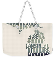Michigan State Outline Word Map Weekender Tote Bag by Design Turnpike