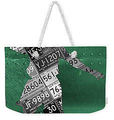 Michigan State Spartans Basketball Player Recycled Michigan License Plate Art Weekender Tote Bag