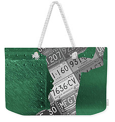Michigan State Spartans Receiver Recycled Michigan License Plate Art Weekender Tote Bag