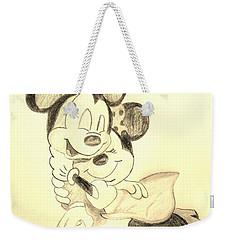 Mickey Minnie Cuddle Buddies - Sepia Weekender Tote Bag