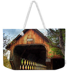 Weekender Tote Bag featuring the photograph Middle Covered Bridge - Woodstock Vermont by Joann Vitali