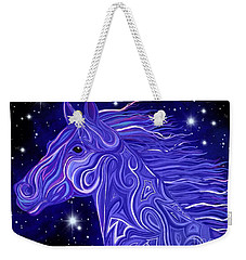 Weekender Tote Bag featuring the drawing Midnight Blue Mustang by Nick Gustafson