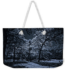 Weekender Tote Bag featuring the photograph Midnight Blues by Linda Unger