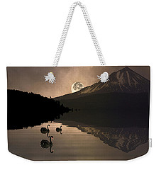 Weekender Tote Bag featuring the photograph Midnight Moods Swan Lake In The Moonlight by Diane Schuster