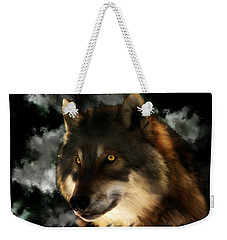Midnight Stare - Wolf Digital Painting Weekender Tote Bag