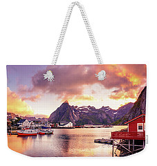 Weekender Tote Bag featuring the photograph Midnight Sun On Hamnoy by Dmytro Korol