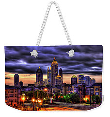 Midtown Atlanta Towers Over Atlantic Commons Weekender Tote Bag by Reid Callaway