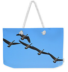 Weekender Tote Bag featuring the photograph Migrating Geese by Ann E Robson