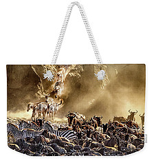 Weekender Tote Bag featuring the photograph Migration Crossing Drama by Janis Knight