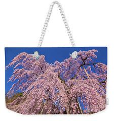 Weekender Tote Bag featuring the photograph Miharu Takizakura Weeping Cherry30 by Tatsuya Atarashi
