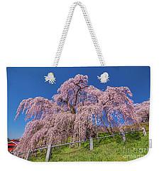 Weekender Tote Bag featuring the photograph Miharu Takizakura Weeping Cherry0565 by Tatsuya Atarashi