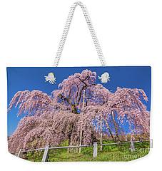Weekender Tote Bag featuring the photograph Miharu Takizakura Weeping Cherry31 by Tatsuya Atarashi