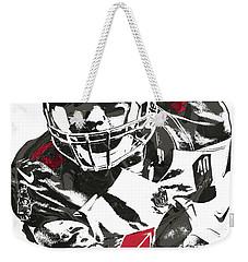 Weekender Tote Bag featuring the mixed media Mike Evans Tampa Bay Buccaneers Pixel Art by Joe Hamilton