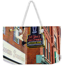 Weekender Tote Bag featuring the painting Mike's Ice Cream And Coffee Bar by Sandy MacGowan