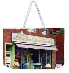 Weekender Tote Bag featuring the painting Mike's Ice Cream Fountain by Sandy MacGowan