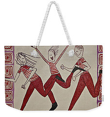 Weekender Tote Bag featuring the painting Mikey Just Likes To Participate by Donna Howard