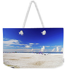 Weekender Tote Bag featuring the photograph Miles And Miles Of White Sand by Gary Wonning