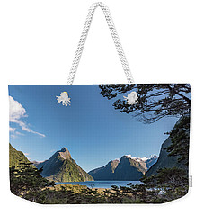 Weekender Tote Bag featuring the photograph Milford Sound Overlook by Gary Eason
