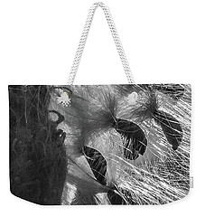Milkweed Sunburst In Black And White Weekender Tote Bag