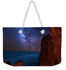 Weekender Tote Bag featuring the photograph Milky Way Over Huchinson Island Beach Florida by Justin Kelefas
