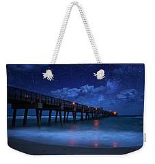 Milky Way Over Juno Beach Pier Under Moonlight Weekender Tote Bag