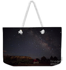 Milky Way Over White Pocket Campground Weekender Tote Bag by Anne Rodkin