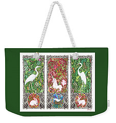 Millefleurs Triptych With Unicorn, Cranes, Rabbits And Dove Weekender Tote Bag