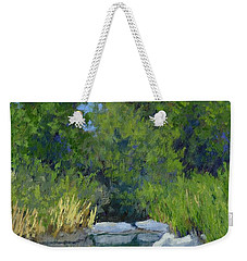 Weekender Tote Bag featuring the painting Millrace Pond by David King
