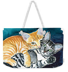 Milo And Tigger - Cute Kitty Painting Weekender Tote Bag