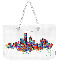Weekender Tote Bag featuring the mixed media Milwaukee Watercolor Skyline by Marian Voicu