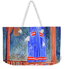 Weekender Tote Bag featuring the painting Miner's Overalls by Sandy McIntire