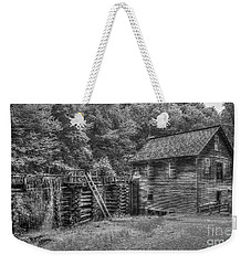 Weekender Tote Bag featuring the photograph Mingus Mill Black And White Mingus Creek Great Smoky Mountains Art by Reid Callaway