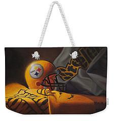 Weekender Tote Bag featuring the painting Mini Helmet Commemorative Edition by Joe Winkler