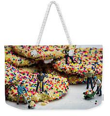 Miniature Construction Workers On Sprinkle Cookies Weekender Tote Bag