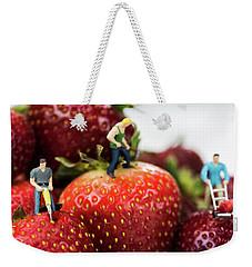 Miniature Construction Workers On Strawberries Weekender Tote Bag