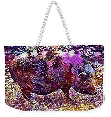 Weekender Tote Bag featuring the digital art Miniature Pig Pregnant Animal Pig  by PixBreak Art