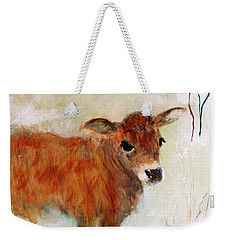 Weekender Tote Bag featuring the painting Nicholas The Miniature Zebu Calf by Barbie Batson