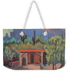 Weekender Tote Bag featuring the painting Mining Camp At Superstition Mountain Museum by Diane McClary