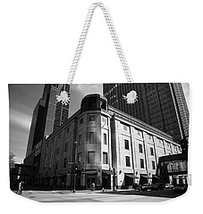 Weekender Tote Bag featuring the photograph Minneapolis Downtown Bw by Frank Romeo