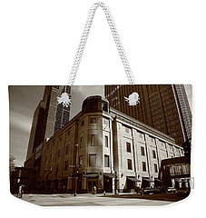 Weekender Tote Bag featuring the photograph Minneapolis Downtown Sepia by Frank Romeo