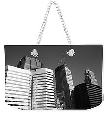 Weekender Tote Bag featuring the photograph Minneapolis Skyscrapers Bw 5 by Frank Romeo