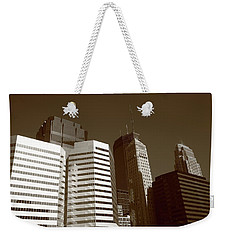 Weekender Tote Bag featuring the photograph Minneapolis Skyscrapers 5 Sepia by Frank Romeo