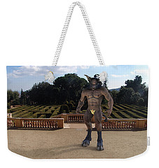 Minotaur In The Labyrinth Park Barcelona. Weekender Tote Bag by Joaquin Abella