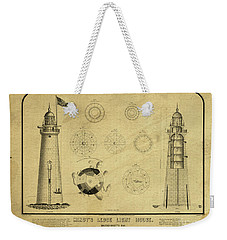 Weekender Tote Bag featuring the drawing Minot's Ledge Light House. Massachusetts Bay by Vintage