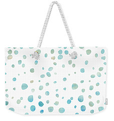 Mint Blue Watercolor Confetti Dots Weekender Tote Bag by P S