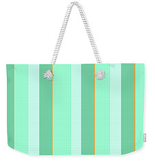 Weekender Tote Bag featuring the mixed media Mint Green Stripe Pattern by Christina Rollo